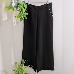 Black Palazzo Pants with Jewel Buttons